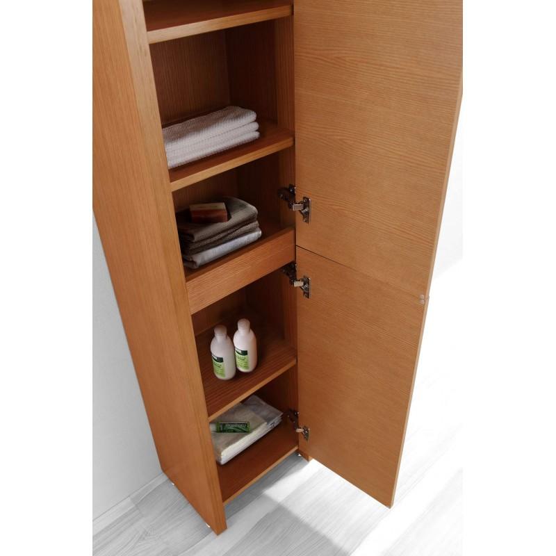 Fresca Black Bathroom Linen Side Cabinet W 4 Cubby Holes Mirror Burroughs Hardwoods Online